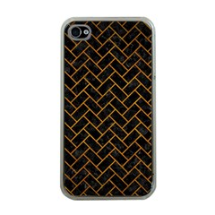 Brick2 Black Marble & Yellow Grunge (r) Apple Iphone 4 Case (clear) by trendistuff