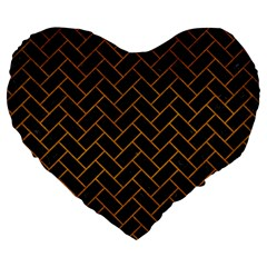 Brick2 Black Marble & Yellow Grunge (r) Large 19  Premium Heart Shape Cushions by trendistuff