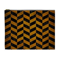 Chevron1 Black Marble & Yellow Grunge Cosmetic Bag (xl) by trendistuff