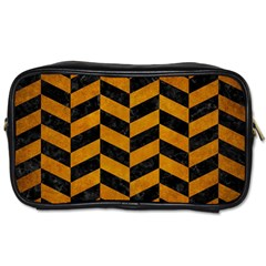 Chevron1 Black Marble & Yellow Grunge Toiletries Bags 2 Side by trendistuff