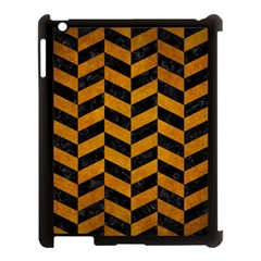Chevron1 Black Marble & Yellow Grunge Apple Ipad 3/4 Case (black) by trendistuff