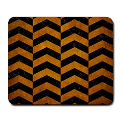 Chevron2 Black Marble & Yellow Grunge Large Mousepads by trendistuff