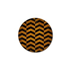 Chevron2 Black Marble & Yellow Grunge Golf Ball Marker by trendistuff