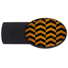 Chevron2 Black Marble & Yellow Grunge Usb Flash Drive Oval (2 Gb) by trendistuff