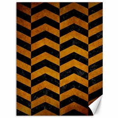 Chevron2 Black Marble & Yellow Grunge Canvas 36  X 48   by trendistuff