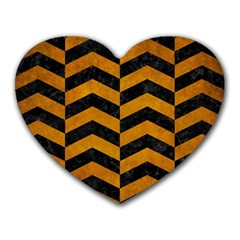 Chevron2 Black Marble & Yellow Grunge Heart Mousepads by trendistuff