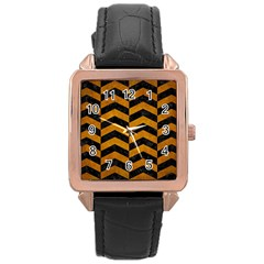 Chevron2 Black Marble & Yellow Grunge Rose Gold Leather Watch  by trendistuff