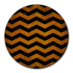 Chevron3 Black Marble & Yellow Grunge Round Mousepads by trendistuff
