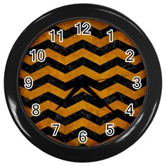 Chevron3 Black Marble & Yellow Grunge Wall Clocks (black) by trendistuff