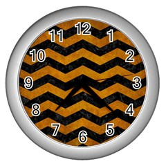 Chevron3 Black Marble & Yellow Grunge Wall Clocks (silver)  by trendistuff
