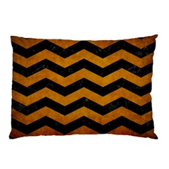 Chevron3 Black Marble & Yellow Grunge Pillow Case (two Sides) by trendistuff