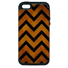 Chevron9 Black Marble & Yellow Grunge Apple Iphone 5 Hardshell Case (pc+silicone) by trendistuff