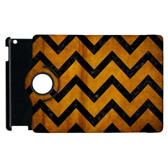 Chevron9 Black Marble & Yellow Grunge Apple Ipad 3/4 Flip 360 Case by trendistuff