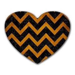 Chevron9 Black Marble & Yellow Grunge (r) Heart Mousepads by trendistuff