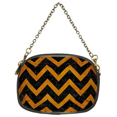 Chevron9 Black Marble & Yellow Grunge (r) Chain Purses (two Sides)  by trendistuff