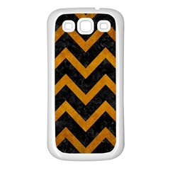 Chevron9 Black Marble & Yellow Grunge (r) Samsung Galaxy S3 Back Case (white) by trendistuff