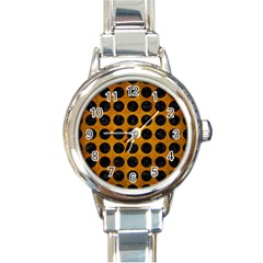 Circles1 Black Marble & Yellow Grunge Round Italian Charm Watch by trendistuff