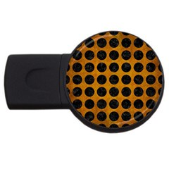 Circles1 Black Marble & Yellow Grunge Usb Flash Drive Round (2 Gb) by trendistuff