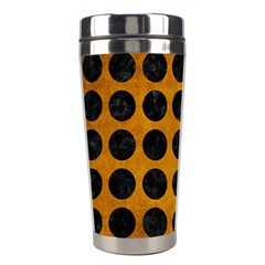 Circles1 Black Marble & Yellow Grunge Stainless Steel Travel Tumblers by trendistuff