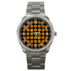 Circles1 Black Marble & Yellow Grunge (r) Sport Metal Watch by trendistuff