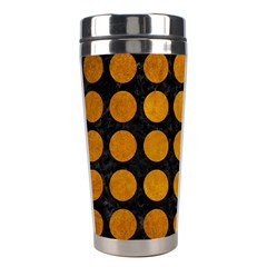 Circles1 Black Marble & Yellow Grunge (r) Stainless Steel Travel Tumblers by trendistuff