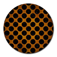Circles2 Black Marble & Yellow Grunge Round Mousepads by trendistuff