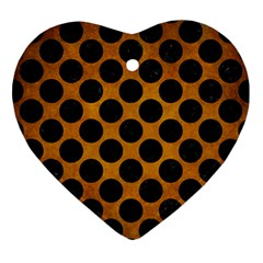 Circles2 Black Marble & Yellow Grunge Ornament (heart) by trendistuff