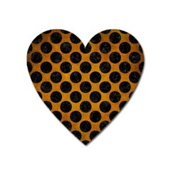 Circles2 Black Marble & Yellow Grunge Heart Magnet by trendistuff