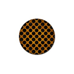 Circles2 Black Marble & Yellow Grunge Golf Ball Marker by trendistuff