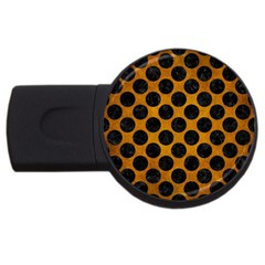 Circles2 Black Marble & Yellow Grunge Usb Flash Drive Round (2 Gb) by trendistuff