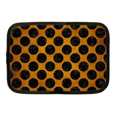 Circles2 Black Marble & Yellow Grunge Netbook Case (medium)  by trendistuff