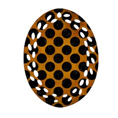 Circles2 Black Marble & Yellow Grunge Oval Filigree Ornament (two Sides) by trendistuff