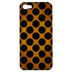 Circles2 Black Marble & Yellow Grunge Apple Iphone 5 Hardshell Case by trendistuff