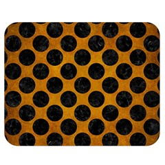 Circles2 Black Marble & Yellow Grunge Double Sided Flano Blanket (medium)  by trendistuff