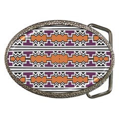 Purple And Brown Shapes                                  Belt Buckle by LalyLauraFLM