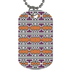 Purple And Brown Shapes                                  Dog Tag (one Side) by LalyLauraFLM