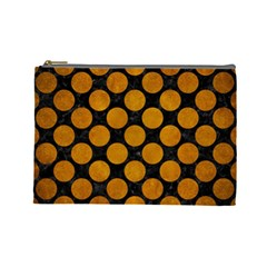 Circles2 Black Marble & Yellow Grunge (r) Cosmetic Bag (large)  by trendistuff