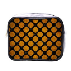 Circles2 Black Marble & Yellow Grunge (r) Mini Toiletries Bags by trendistuff