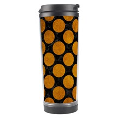 Circles2 Black Marble & Yellow Grunge (r) Travel Tumbler by trendistuff