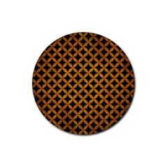 Circles3 Black Marble & Yellow Grunge (r) Rubber Coaster (round)  by trendistuff