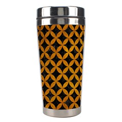 Circles3 Black Marble & Yellow Grunge (r) Stainless Steel Travel Tumblers by trendistuff