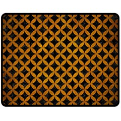 Circles3 Black Marble & Yellow Grunge (r) Double Sided Fleece Blanket (medium)  by trendistuff