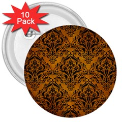 Damask1 Black Marble & Yellow Grunge 3  Buttons (10 Pack)  by trendistuff