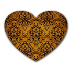 Damask1 Black Marble & Yellow Grunge Heart Mousepads by trendistuff