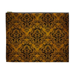 Damask1 Black Marble & Yellow Grunge Cosmetic Bag (xl) by trendistuff