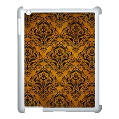 Damask1 Black Marble & Yellow Grunge Apple Ipad 3/4 Case (white) by trendistuff