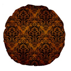 Damask1 Black Marble & Yellow Grunge Large 18  Premium Round Cushions by trendistuff