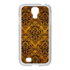 Damask1 Black Marble & Yellow Grunge Samsung Galaxy S4 I9500/ I9505 Case (white) by trendistuff
