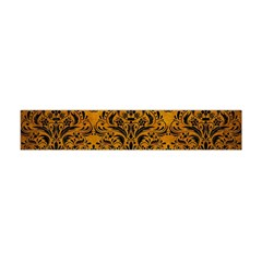 Damask1 Black Marble & Yellow Grunge Flano Scarf (mini) by trendistuff