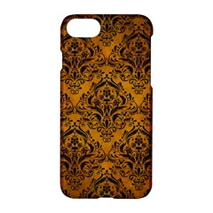 Damask1 Black Marble & Yellow Grunge Apple Iphone 8 Hardshell Case by trendistuff